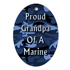 Proud grandpa of a Marine Oval Ornament