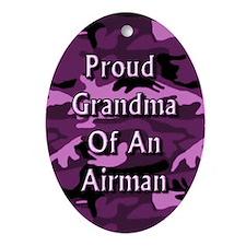 Proud grandma of an Airman Oval Ornament