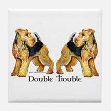 Airedale Terrier Trouble Tile Coaster