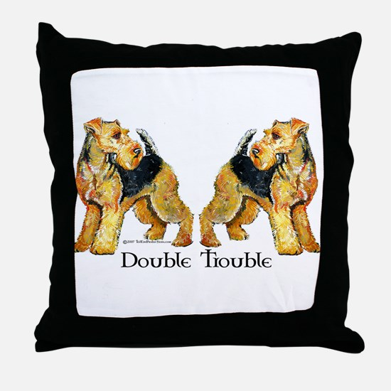 Airedale Terrier Trouble Throw Pillow