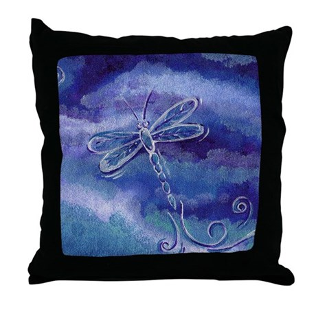 Throw Pillow With Dragonfly : Blue Dragonfly Throw Pillow by bjasmine
