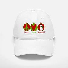 Peace, Love, Snowmen Baseball Baseball Cap