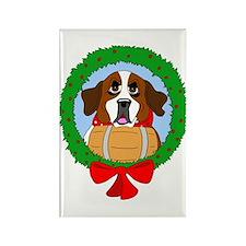 Saint Bernard Dog Christmas Rectangle Magnet (100