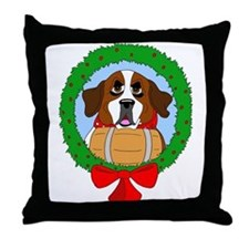 Saint Bernard Dog Christmas Throw Pillow