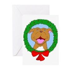 Smiling Pit Bull Christmas Greeting Cards (Pk of 1