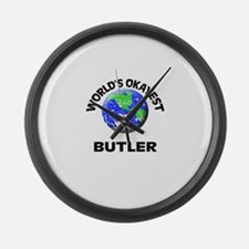 World's Okayest Butler Large Wall Clock