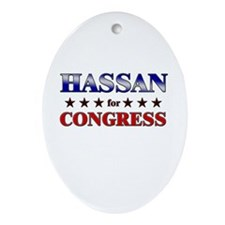 HASSAN for congress Oval Ornament