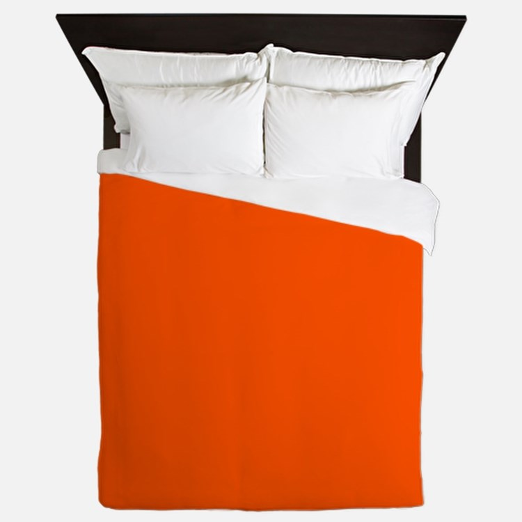 Neon Orange Solid Color Queen Duvet
