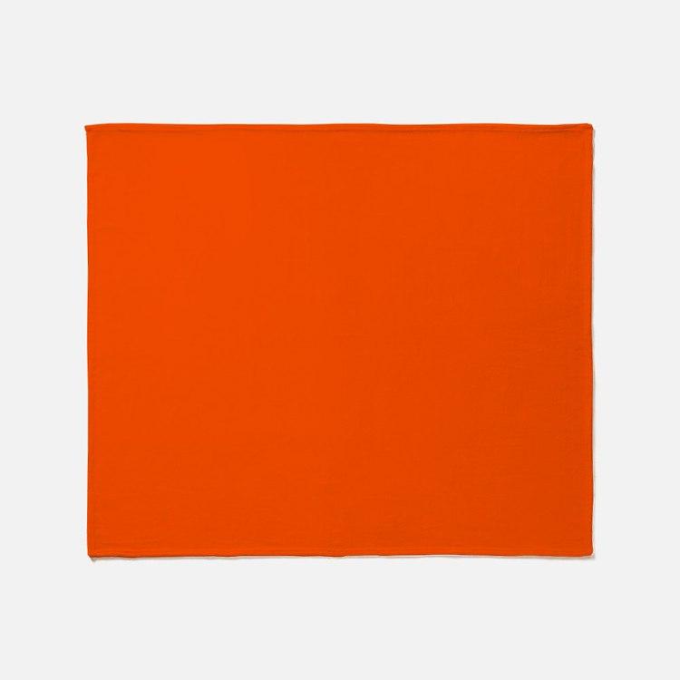 Neon Orange Solid Color Throw Blanket