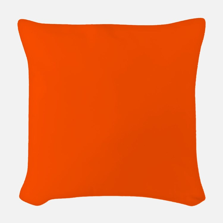 Neon Orange Solid Color Woven Throw Pillow