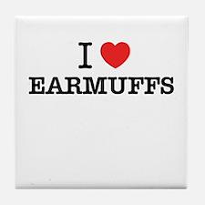 I Love EARMUFFS Tile Coaster
