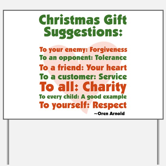 Christmas Gift Suggestions Yard Sign