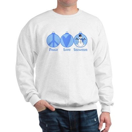 Peace, Love, Snowmen (blue) Sweatshirt