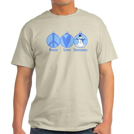 Peace, Love, Snowmen (blue) Light T-Shirt