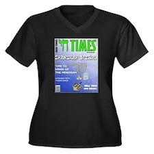 Chai Times Women's Plus Size V-Neck Dark T-Shirt