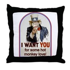 Hot Monkey Love Throw Pillow