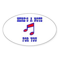 A NOTE FOR YOU Oval Decal
