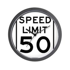 Speed Limit 50 MPH Wall Clock