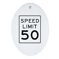 Speed Limit 50 MPH Oval Ornament