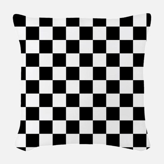 Black squares Woven Throw Pillow