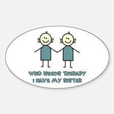 Sisters Fun Oval Stickers