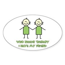 Therapy For Friends Oval Decal