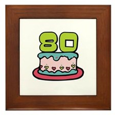 80th Birthday Cake Framed Tile