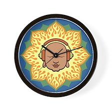 DJ Buddhaful Fire Lotus Circle Wall Clock