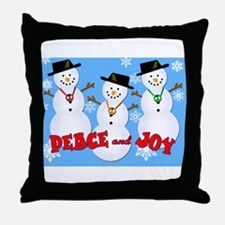 Peace and Joy Snowmen Holiday Throw Pillow