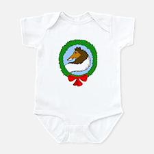 Rough Coat Collie Christmas Infant Bodysuit