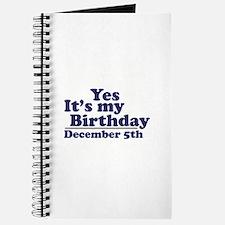 December 5th Birthday Journal
