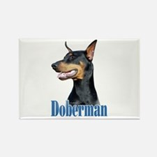 Doberman(black)Name Rectangle Magnet