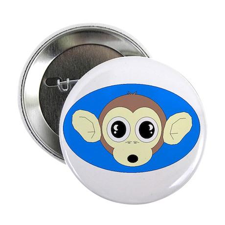 MONKEY FACE ART 2 BLUE BACKGROUND Button