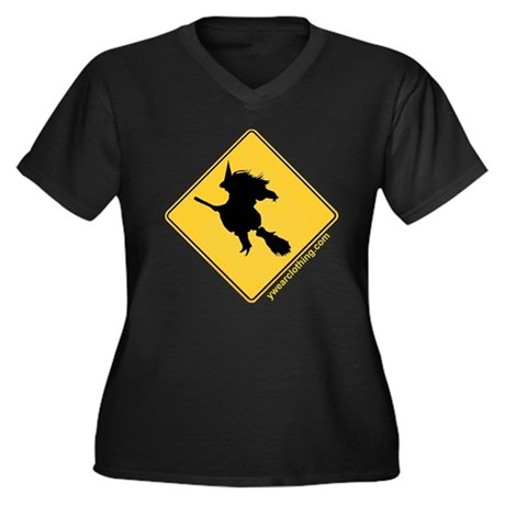 Witch Xing Women's Plus Size V-Neck Dark T-Shirt