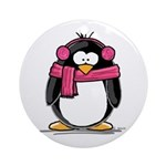 Pink Earmuff Penguin Ornament (Round)