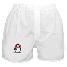 Pink Earmuff Penguin Boxer Shorts
