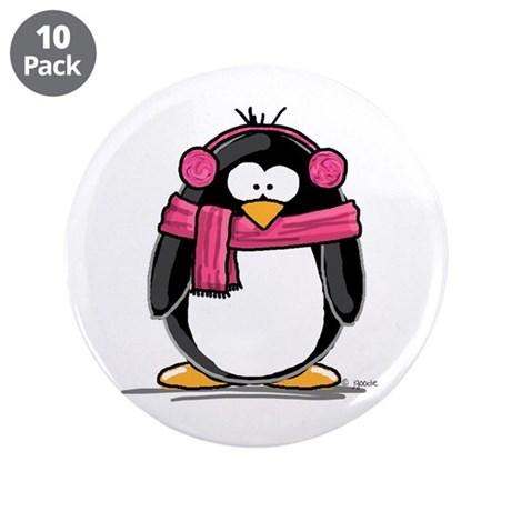 "Pink Earmuff Penguin 3.5"" Button (10 pack)"