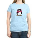 Pink Earmuff Penguin Women's Light T-Shirt