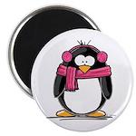 Pink Earmuff Penguin Magnet