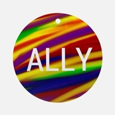 ALLY Gay Rainbow Art Round Ornament