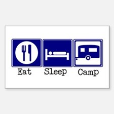 Eat, Sleep, Camp (Travel Trai Sticker (Rectangular