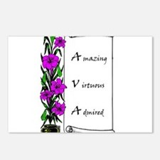 Ava Flowers & Scroll Postcards (Package of 8)