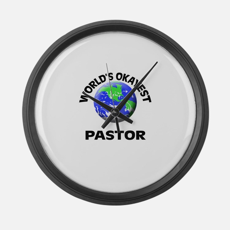World's Okayest Pastor Large Wall Clock