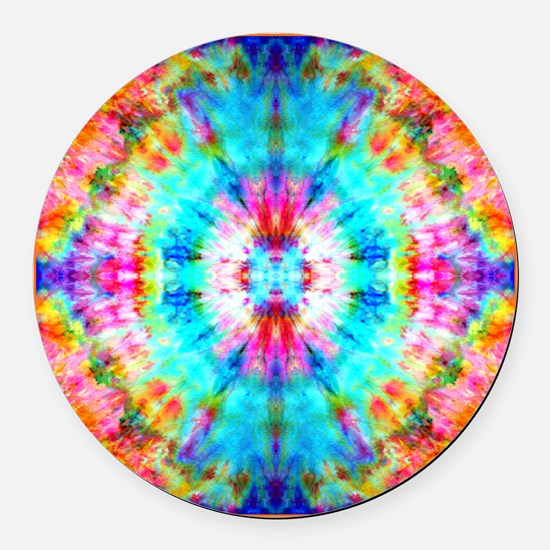 Rainbow Sunburst Round Car Magnet