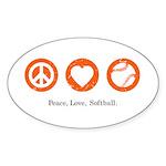 Peace. Love. Softball. Oval Sticker