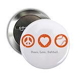 Peace. Love. Softball. Button