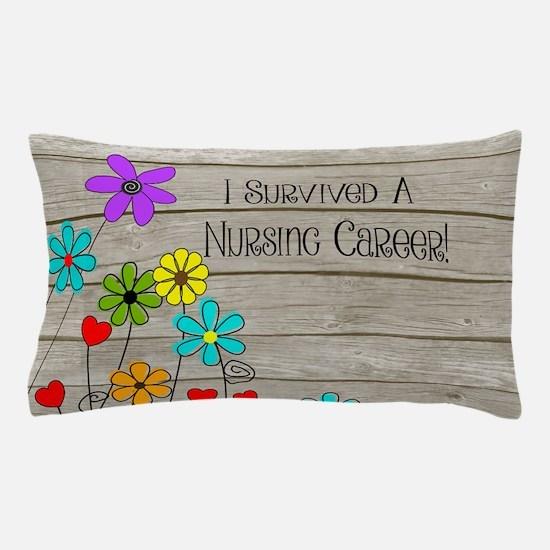 Retired Nurse Floral Brown Pillow Case
