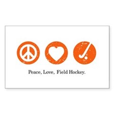 PEACE. LOVE. FIELD HOCKEY Rectangle Decal