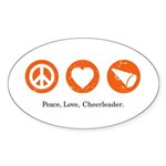 PEACE. LOVE. CHEERLEADING. Oval Sticker