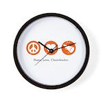 PEACE. LOVE. CHEERLEADING. Wall Clock